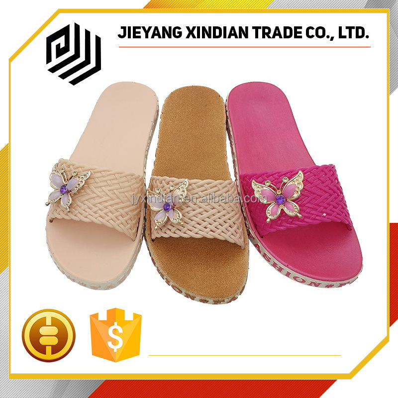 butterfly ornament woven upper ladies slipper shoes 2017