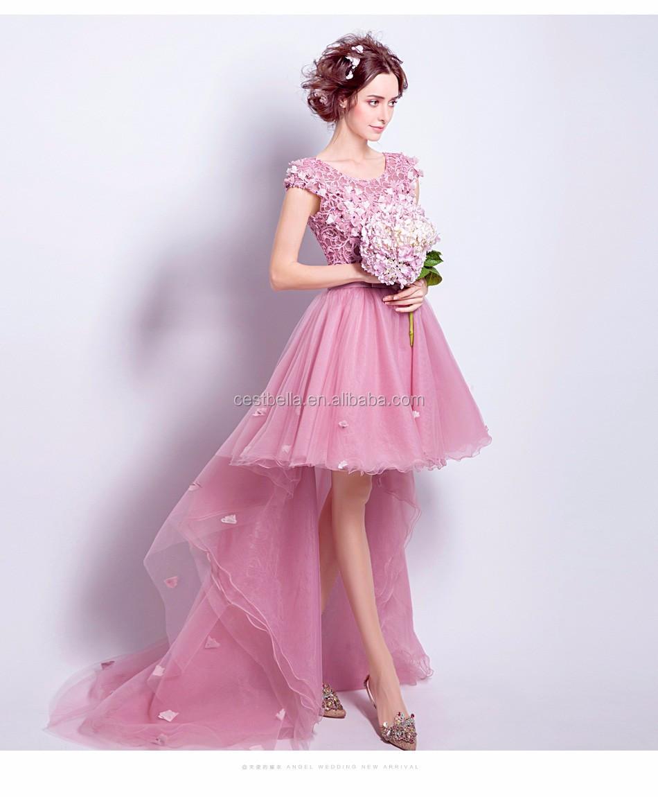 Cestbella Short Front Long Back Deep Pink Evening Dress Puffy ...