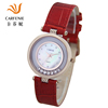 Japan movt quartz leather wrist watch with stainless steel back