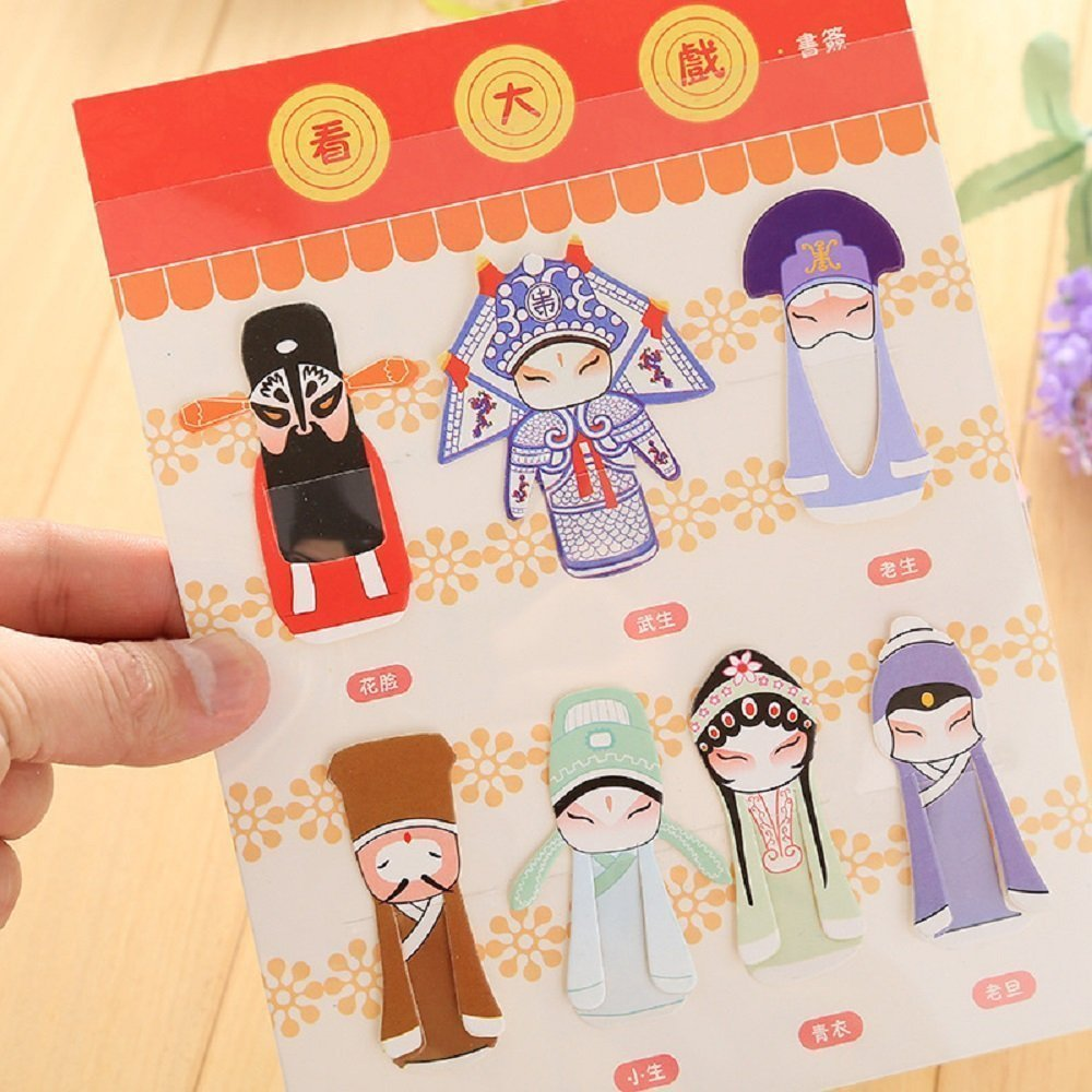 Paper Bookmark Peking Opera Mask Series with Chinese Classical elements Fashionable and Cute Book Mark Set of 7