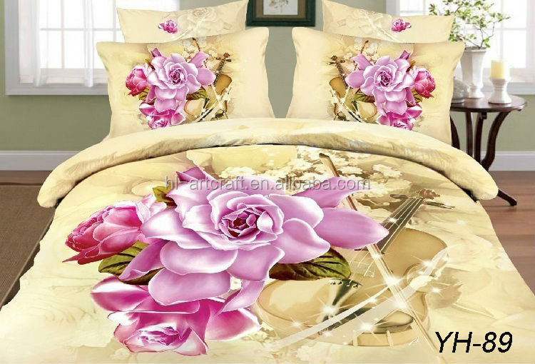 Gold background pink flowers design cotton 3d fancy bed cover. Gold Background Pink Flowers Design Cotton 3d Fancy Bed Cover