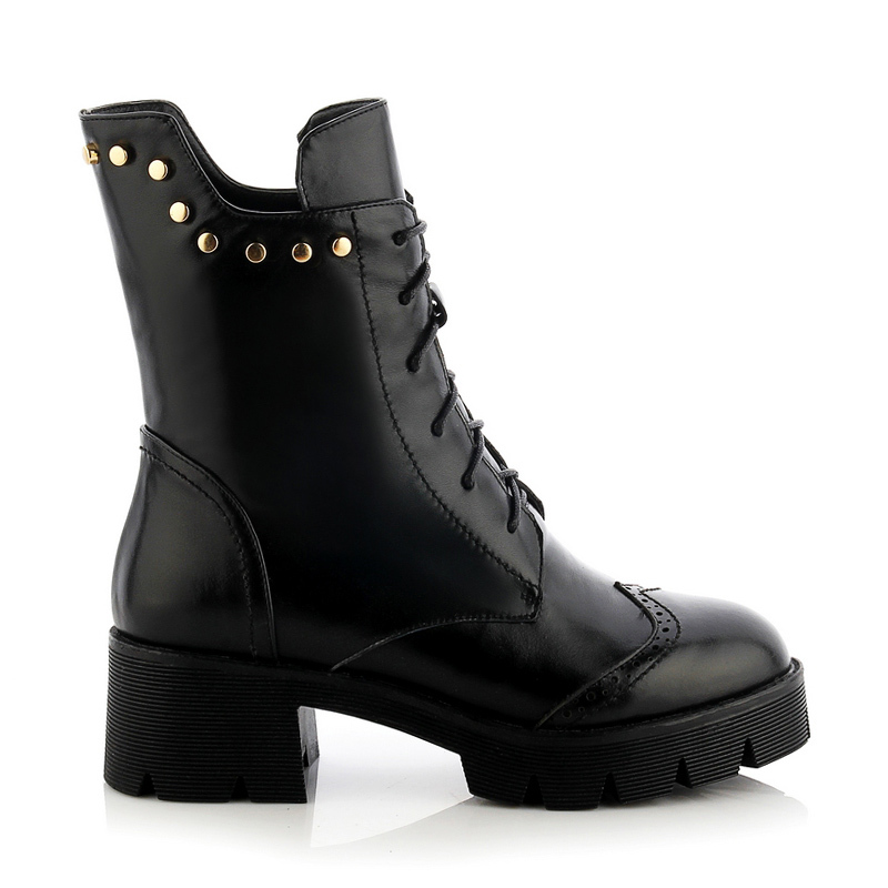 Huikang 2015 New Brand Women Boots Genuine Leather Ladies Ankle Boots Punk Vintage Rivets Ladies Chunky Black Boots B1-1012