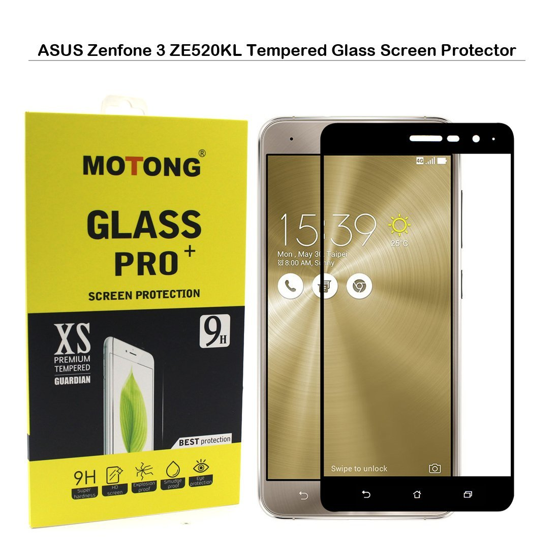 ASUS Zenfone 3 ZE520KL Tempered Glass Screen Protector - MOTONG Full Coverage Screen Protector for ASUS Zenfone 3 ZE520KL 5.2 inch,9 H Hardness,0.3mm Thickness,Made From Real Glass