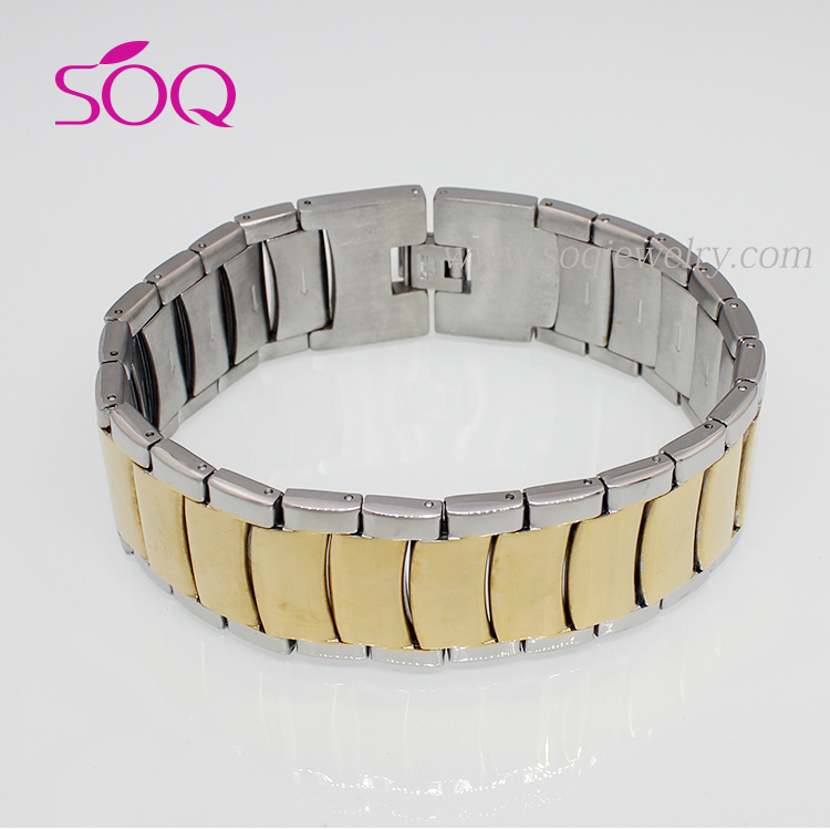 2016 New Designs Men's Two Tone Stainless Steel Chain Bulk Custom Bracelet Jewelry
