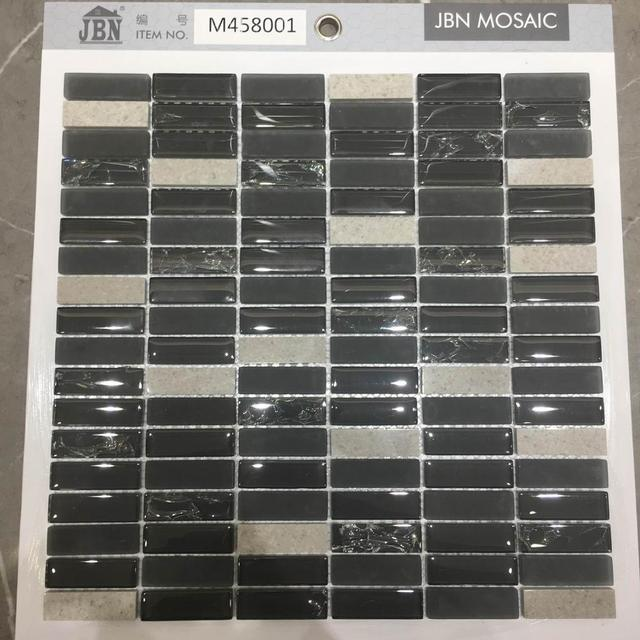 6mm black mosaic tile price cheap with glass and stone mixed mosaic
