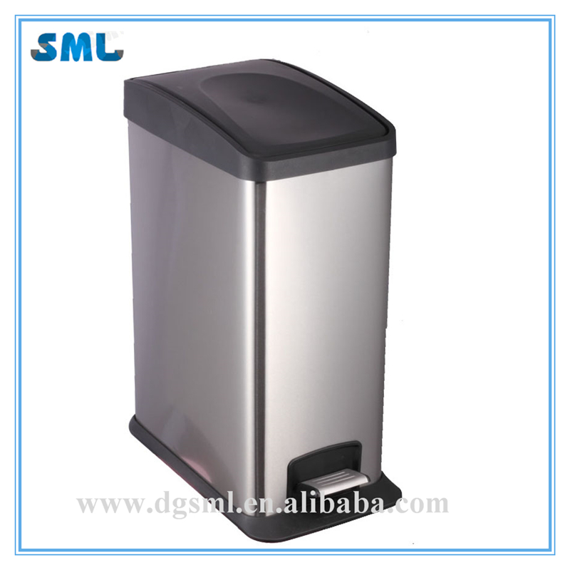 12L Metal Stainless Steel Trash Bins Outdoor Metal Rubbish Bin Ash Bin