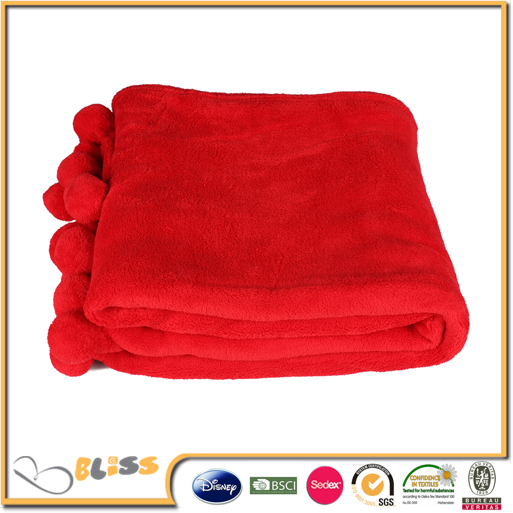 2017 new product 100% polyester colorful coral fleece throw blanket with pompom