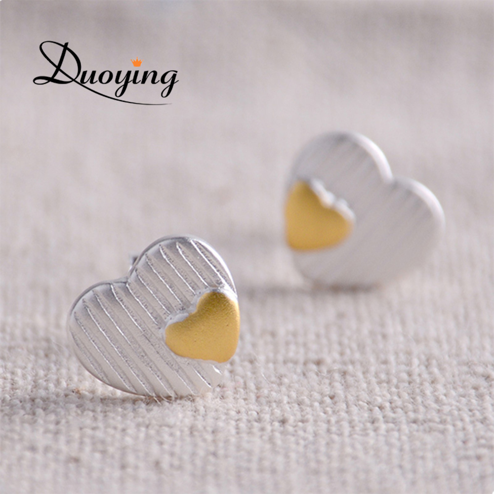 Hot Novelty Items Tiny Silver Heart Earrings Two Colors Plate Gold and Silver Stud Earrings Silver Jewelry Handmade Earrings