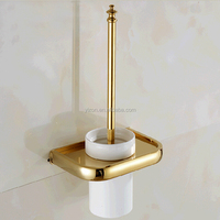 Wholesale And Retail Solid Brass Toilet Brush Holder Wall Mounted Ceramic Cup w/ Brush 3 pcs Bathroom Accessories