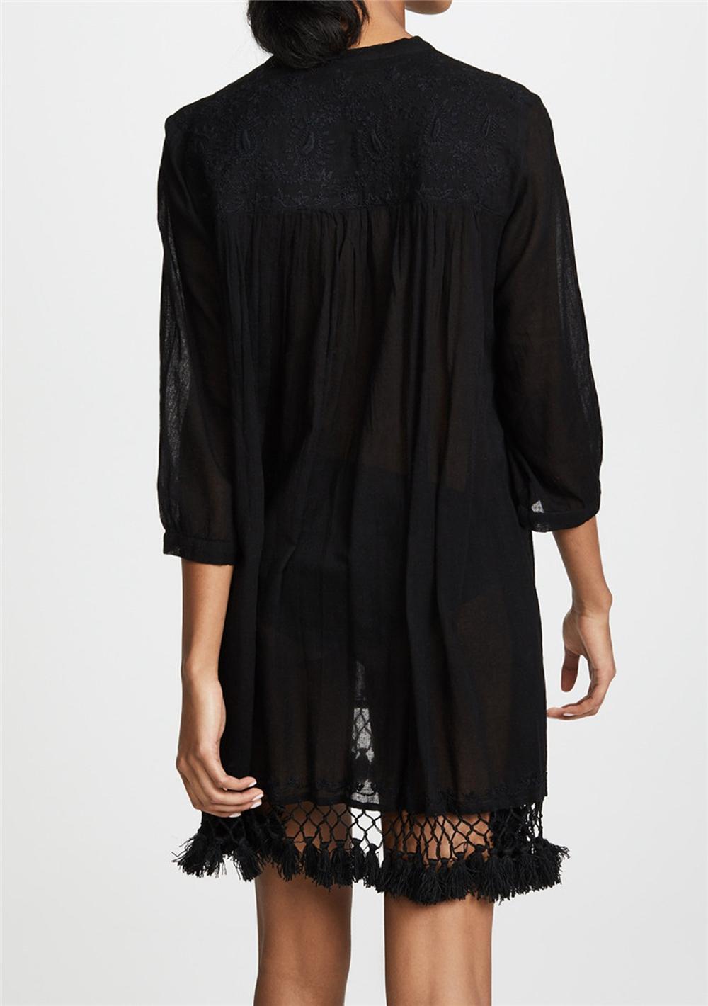8b3db598ee Women Tassel Tunic Dress. Packaging & Shipping. Women Custom Summer Cotton  Beach Tassel Trim Sheer ...