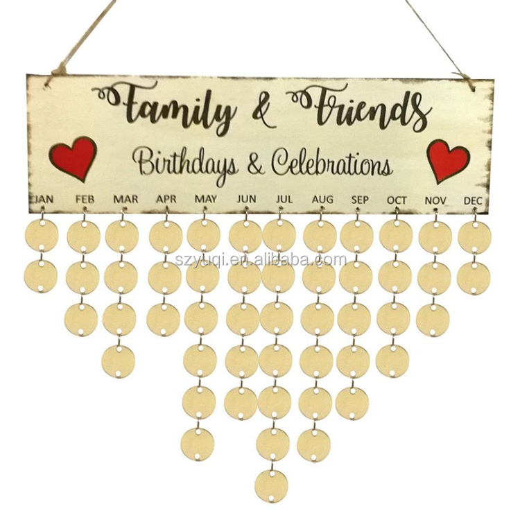 2018 family birthday reminder calendar hanging wood DIY wall calendar