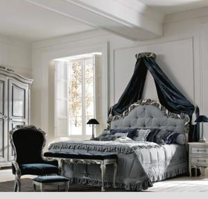 rococo luxury antique Victorian distressed french Bedroom elegant blue reproduction bed royal luxury furniture