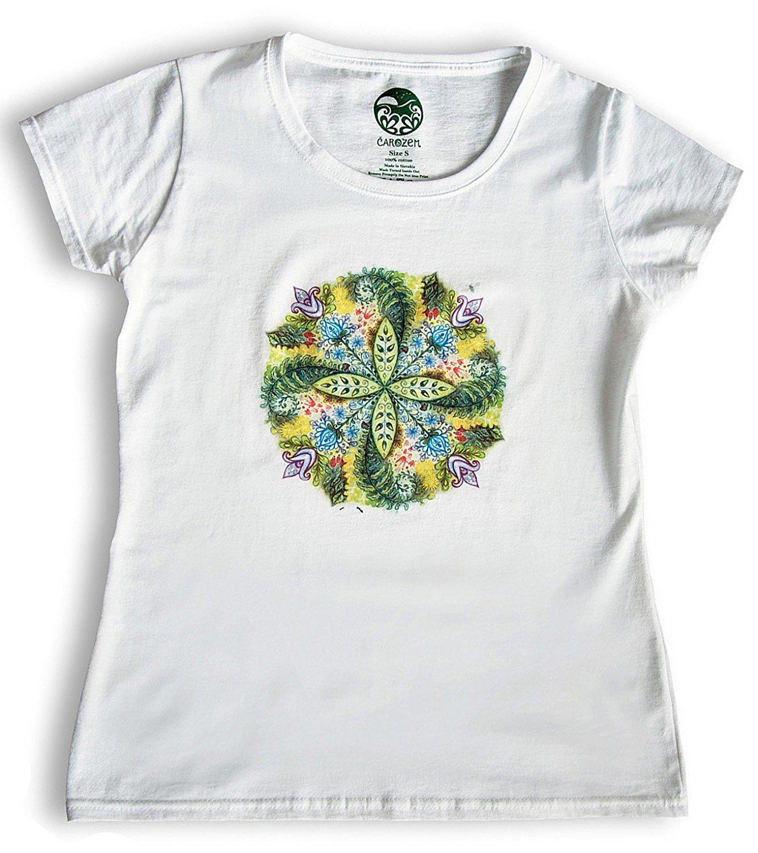 ea3d432a328e9b Get Quotations · Carozem Tees for Women graphic white cotton tees nature  organic mandala hand drawn artwork eco friendly