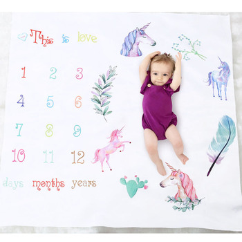 newborn first days photo prop Milestone Unicorn printed woven Blanket for baby