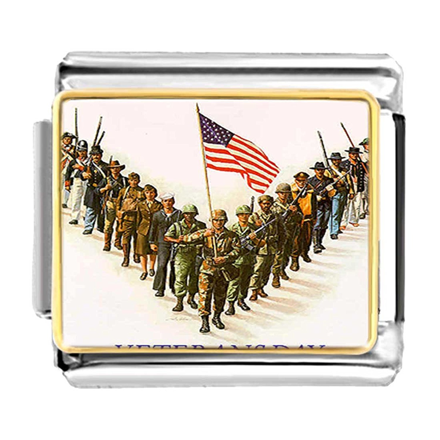 GiftJewelryShop Gold Plated Veterans Day American flag military army Bracelet Link Photo Italian Charms