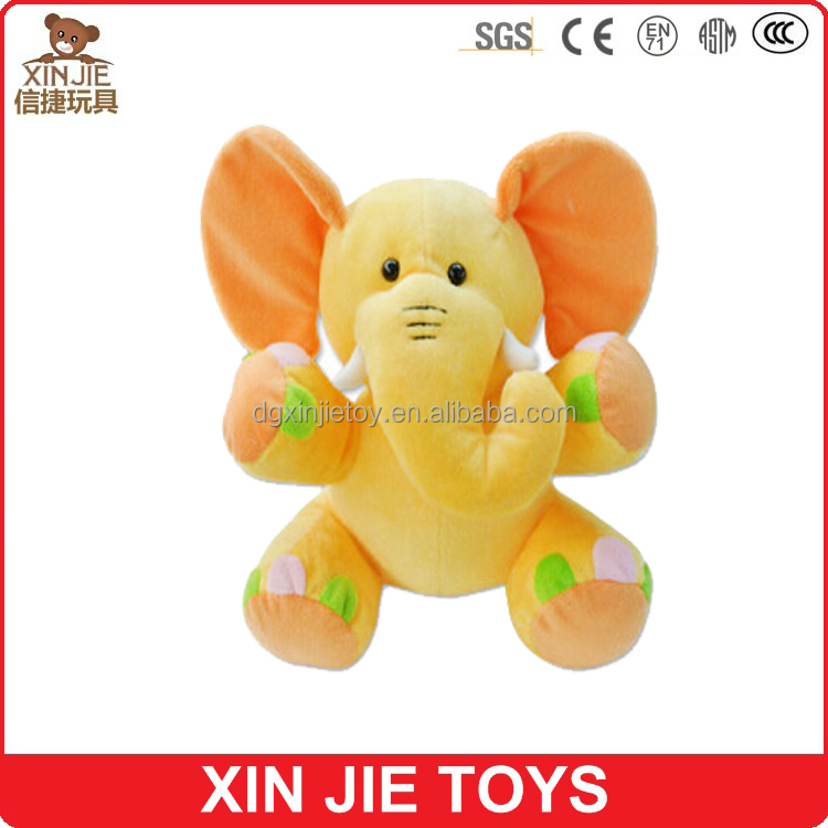 2015 new plush baby elephant toy yellow elephant soft toy cute kids stuffed elephant toy