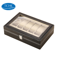 TCHC PU12 Wholesale Manufacturing PU Leather Boxes Case For 12 PCS Watch