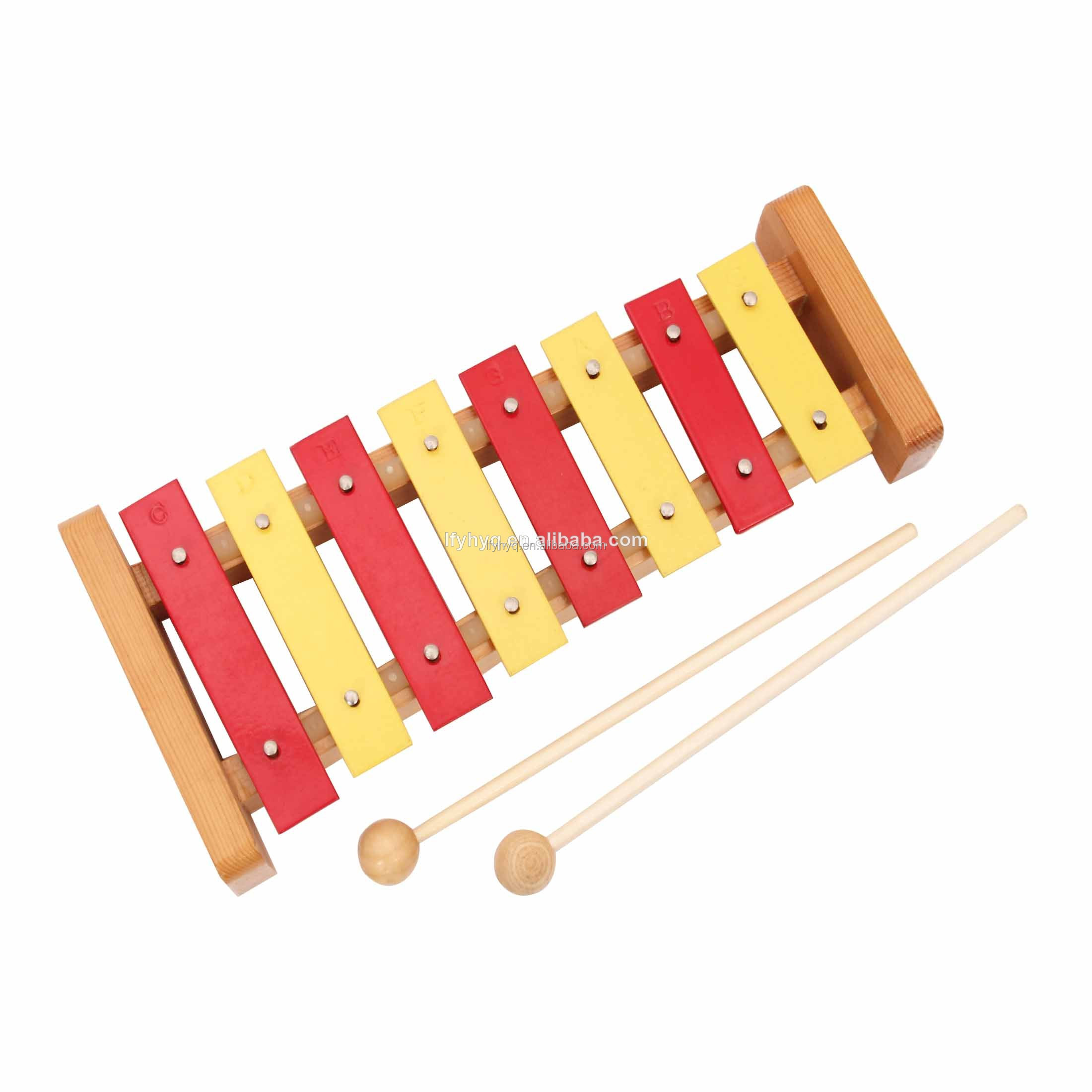8 key musical instrument glockenspiel with wood base