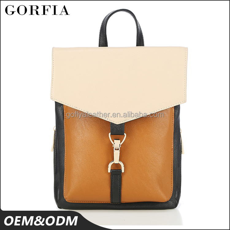 Modern brand orange color whole sale pu ladies high quality backpack