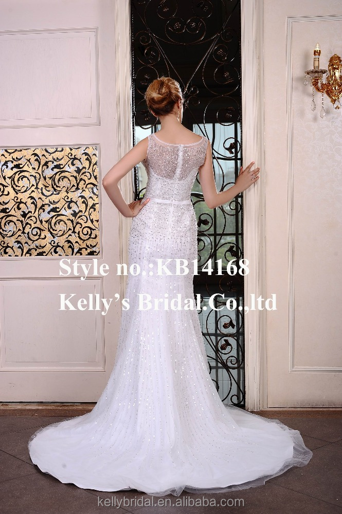 Hot popular sequins tulle elegant boat neck mermaid grown bridal's wedding dress.