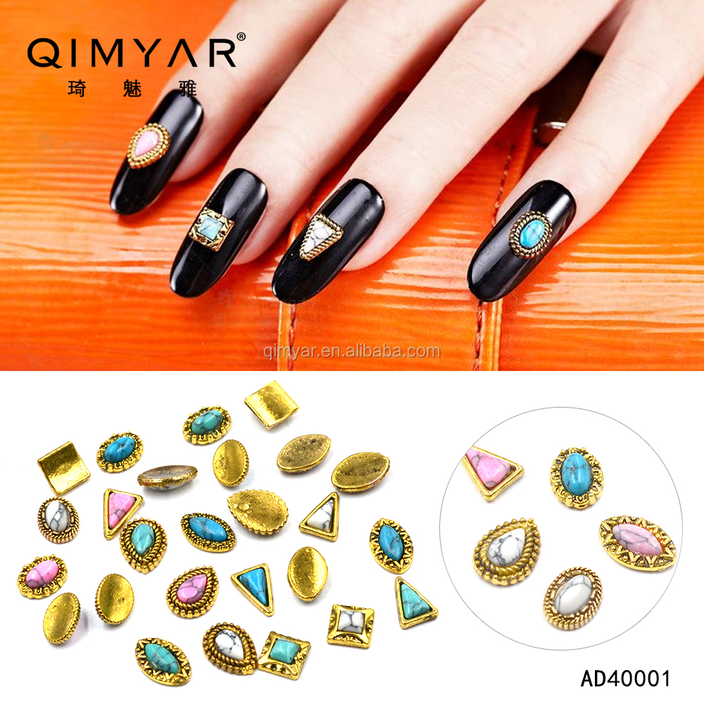 New Japan Style Retro Alloy Nail Art Stone Decorations DIY 3D Charm Nail Sticker