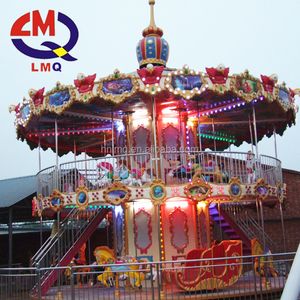Exciting fairground ride coin operate 3 seats mini carousel for sale