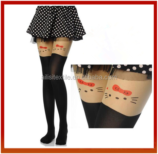 New Design Sexy Picture Printed Girl Tights Seamless Pantyhose /Sexy Women Pantyhose Cat Face Print Silk Tights/Stocking