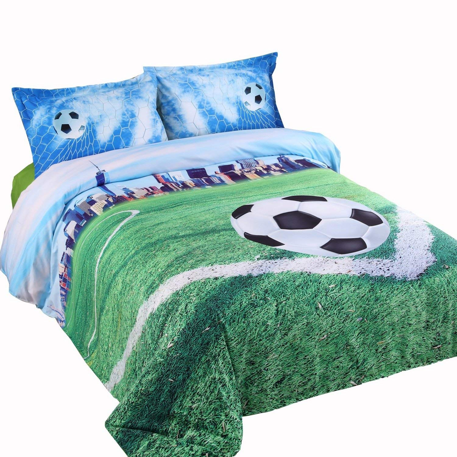 Alicemall 3D Soccer Bedding Football Field and City Scenery Printed Duvet Cover Set 4 Pieces Super Soft Cool Sports Bedding Set, Queen Size College Bedding (Queen, Light Blue)
