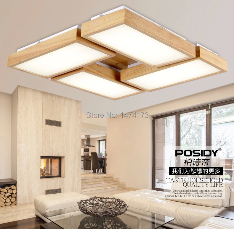 Newest Home Wood Living Room Ceiling Lights LED New