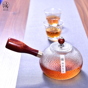 High Borosilicate Glass Tea Pot Top Quality Tea Maker With Wood Handle