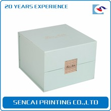 SenCai light bule flip hand made box with brand gold foil stamping for gift