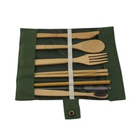 Portable travel with bag tableware cutlery bamboo