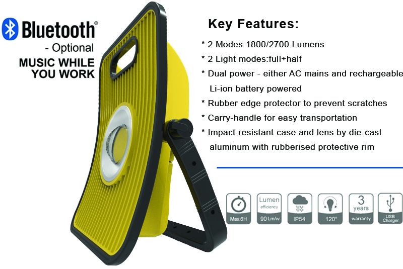 rechargeable battery cob working light building site power bank hand lamp work