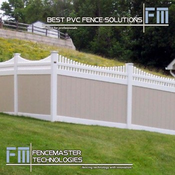 Beige Privacy Pvc Fence Panels And White Scalloped Picket Top