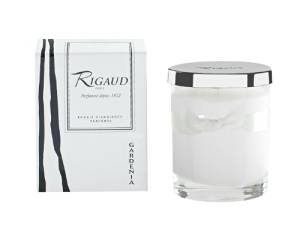 """Rigaud Paris, Gardenia Bougie D'ambiance Parfumee, Small Candle """"Modele Complet"""" w/Metal Silver Snuffer Lid, White, 2.6"""" Tall, 28 Hours, Made in France"""
