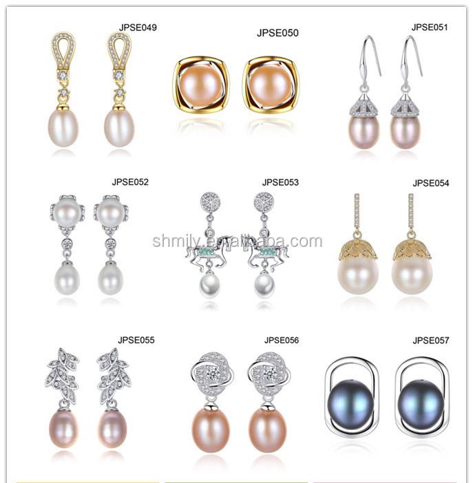 9071908329cf Estilo clásico ronda natural de agua dulce perla pendientes para las  mujeres novia ZIRCON Pave 925