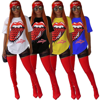 Wholesale 59$ for 10 pieces New MSN8149 Womens Tops Red Tongue Printed Puls Size Women's Wear T-shirt Blouses