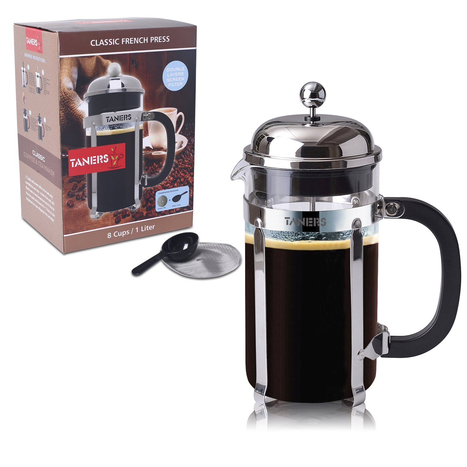 TANERS French Press 8 cup/34oz Coffee, Espresso & Tea Maker,Stainless Steel Coffee Press Filter, BONUS Extra Dual Layer Filter &Scoop & Elegant Gift Box