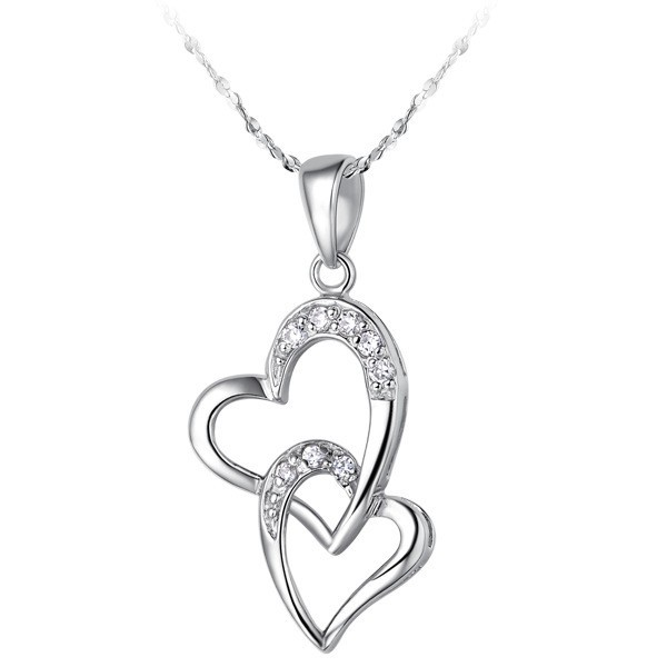 N1234 Latest Design Eco-friendly Copper Cubic Zircon High Quality Polish Craft WIth Water Ripples Chain Fashion Heart Necklace