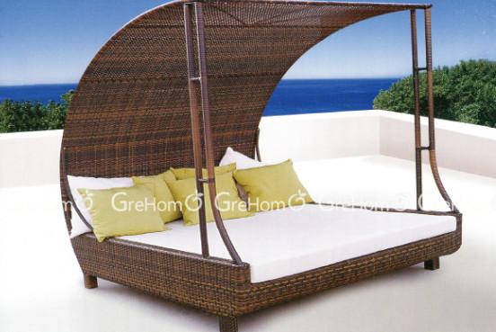doppel strandkorb f r zwei personen rattan sonnenliege. Black Bedroom Furniture Sets. Home Design Ideas