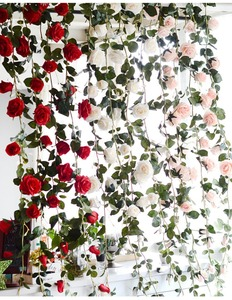 Wholesale Artificial Rose Flower Wall Hanging Silk Rose Garland For Home Wedding Decoration