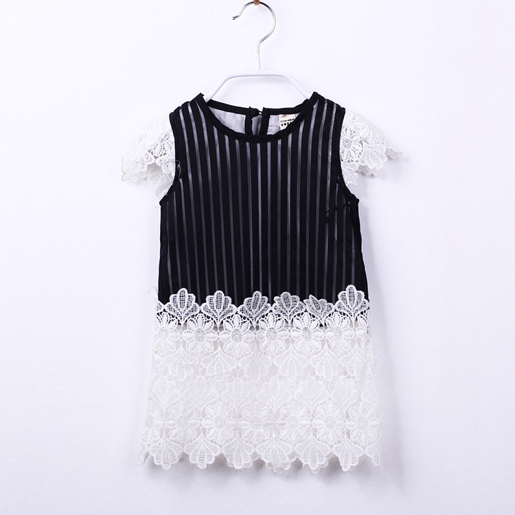 Summer style black plaid baby dress girls white lace dress for 2-7 dress children robe fillette roupas infantis ropa de ninas