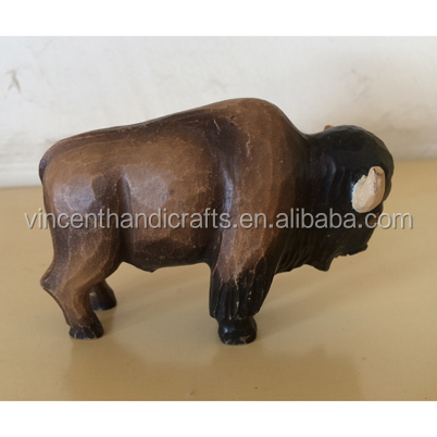 Hand carved wooden yak decorations, bull statue / sculpture / wooden collectible animal figurine / centerpiece & figurines