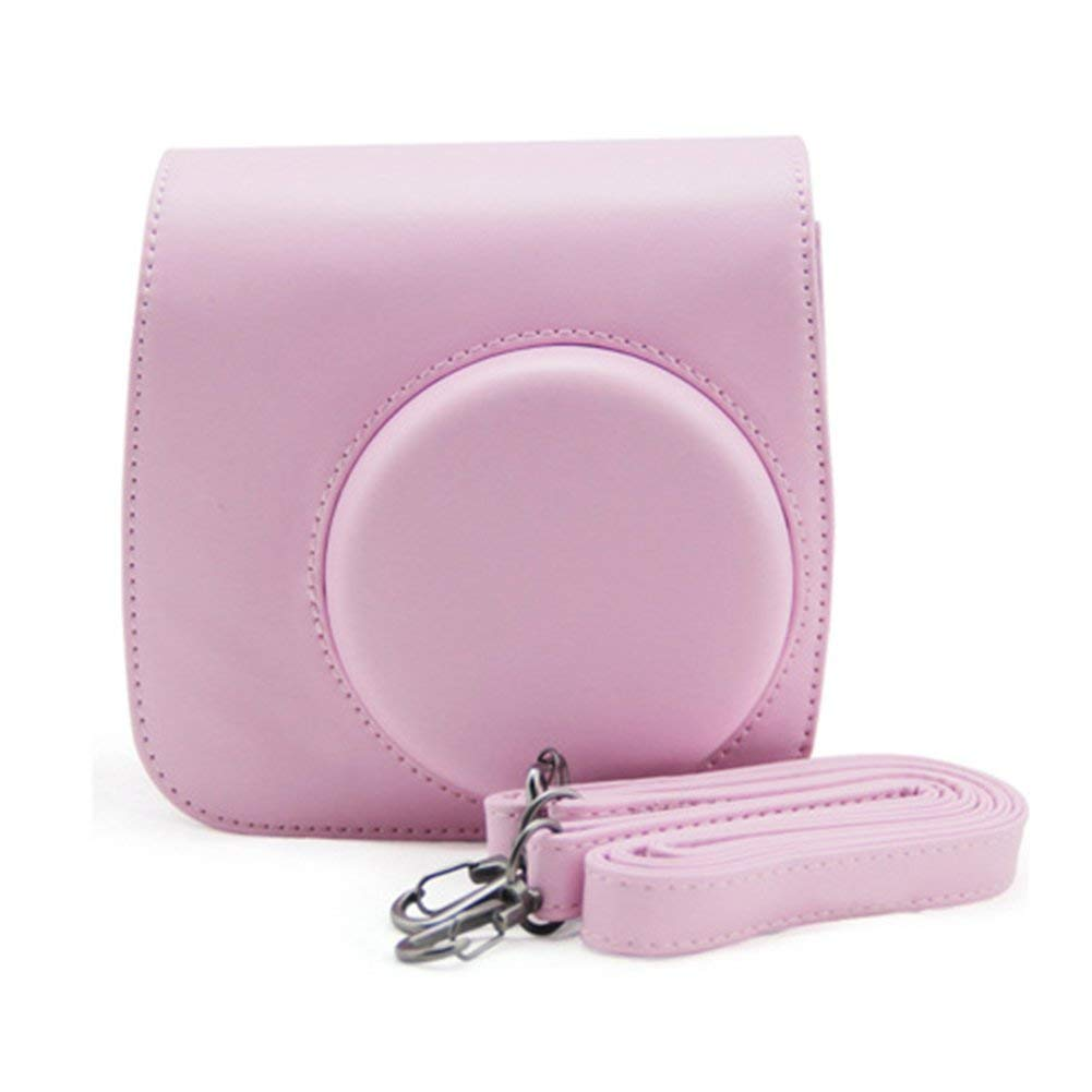 Fuji Camera Case Intax Mini 8 PU Leather Shoulder Retro Carry Bag Instant Film Camera Pouch Pack(Pink)