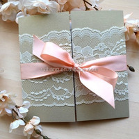 2015 vintage lace best sale wedding invitation cards with pink silk ribbon
