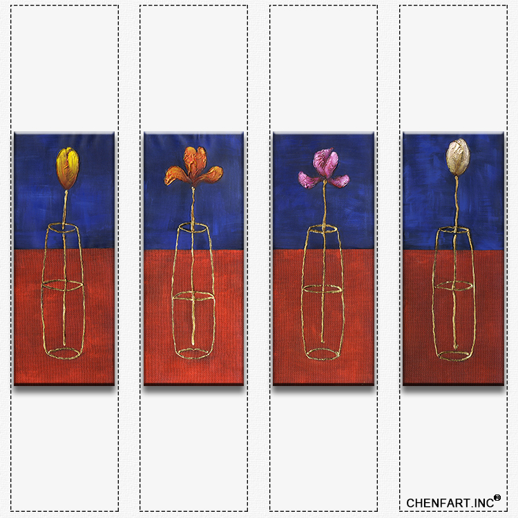 Hot sells 4panels one set Painting Canvas decorative simple flower wall art Home Decoration Modern oil Painting printed