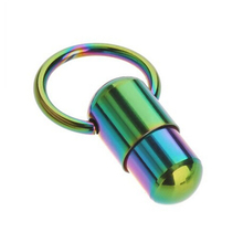 316L Surgical Steel Silver Rainbow Anodized Vibrating Piercing Nipple Shield Ring