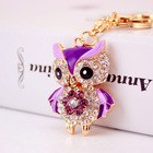 YWbeyond Rhinestone Owl Keychain Car keyrings Handbag Pendant Woman Jewelry Charm Indian Return gifts for Kids Party