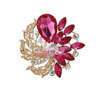 Wholesale crystal brooch pin rhinestone flower brooch gold plated brooch pin