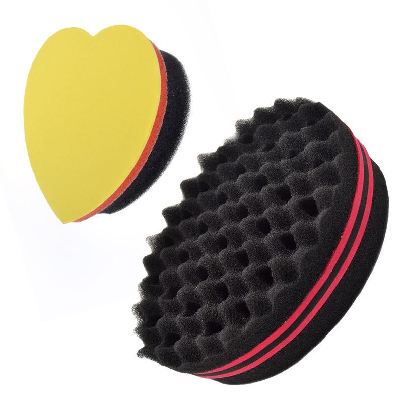 sponge brush. 2pcs oval double sides magic twist hair brush sponge + comb shape curl for afro coil wave dreads